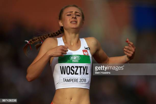 Natalia Wosztyl of Poland reacts following heat 2 of the women's 400m hurdles semi final on day three of The IAAF World U20 Championships on July 12...