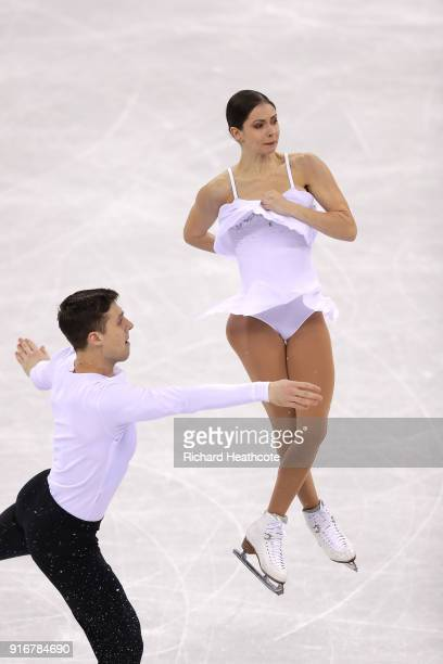 Natalia Zabiiako and Alexander Enbert of Olympic Athlete from Russia compete in the Figure Skating Team Event – Pairs Free Skating on day two of the...