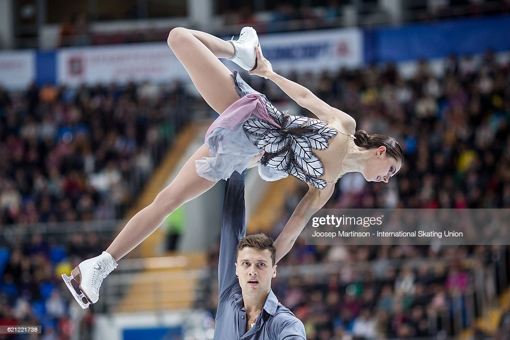 Natalia Zabiiako and Alexander Enbert of Russia compete during Pairs Free Skating on day two of the Rostelecom Cup ISU Grand Prix of Figure Skating at Megasport Ice Palace on November 5, 2016 in Moscow, Russia.