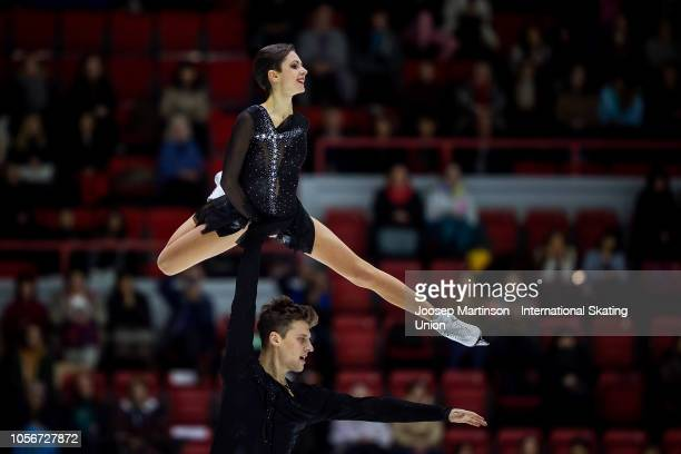 Natalia Zabiiako and Alexander Enbert of Russia compete in the Pairs Free Skating during day two of the ISU Grand Prix of Figure Skating at the...