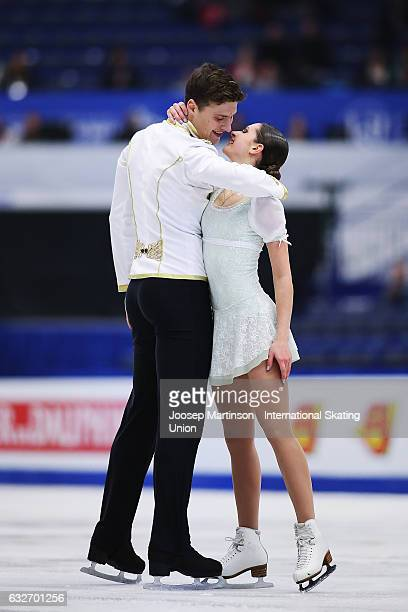 Natalia Zabiiako and Alexander Enbert of Russia compete in the Pairs Short Program during day 1 of the European Figure Skating Championships at...