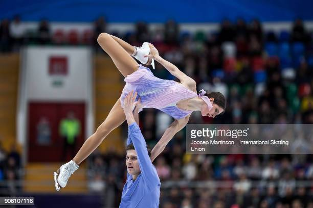 Natalia Zabiiako and Alexander Enbert of Russia compete in the Pairs Short Program during day one of the European Figure Skating Championships at...