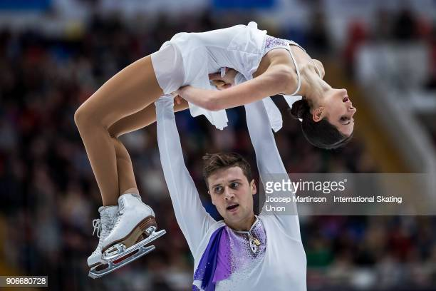 Natalia Zabiiako and Alexander Enbert of Russia compete in the Pairs Free Skating during day two of the European Figure Skating Championships at...