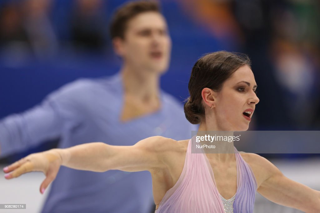 Natalia Zabiiako and Alexander Enbert of Russia perform their short program in the pair competition at the 2018 ISU European Figure Skating Championships, at Megasport Arena in Moscow.