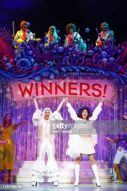 Natalie Abbott and Stefanie Jones attends a media call for Muriel's Wedding The Musical at Her Majesty's Theatre on March 21 2019 in Melbourne...