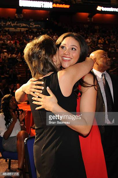 Natalie Achonwa hugs her mother after being drafted number nine overall by the Indiana Fever during the 2014 WNBA Draft Presented By State Farm on...