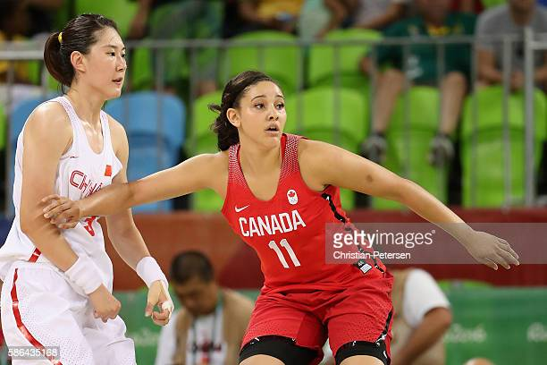 Natalie Achonwa of Canada in action during a Women's Basketball Preliminary Round game against China on Day 1 of the Rio 2016 Olympic Games at Youth...