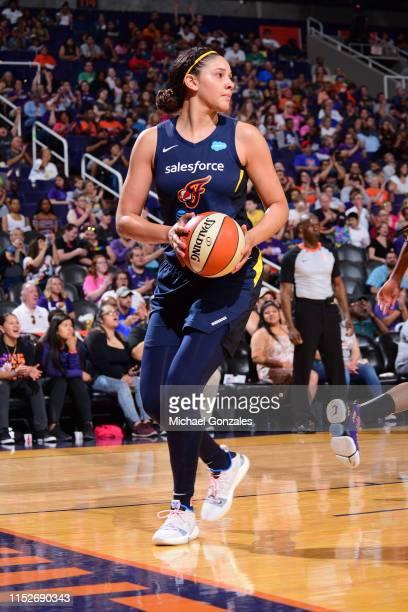 Natalie Achonwa of Indiana Fever handles the ball against the Phoenix Mercury on June 28 2019 at the Talking Stick Resort Arena in Phoenix Arizona...