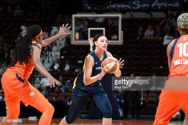 Natalie Achonwa of Indiana Fever looks to pass the ball against the Connecticut Sun on May 28 2019 at the Mohegan Sun Arena in Uncasville Connecticut...