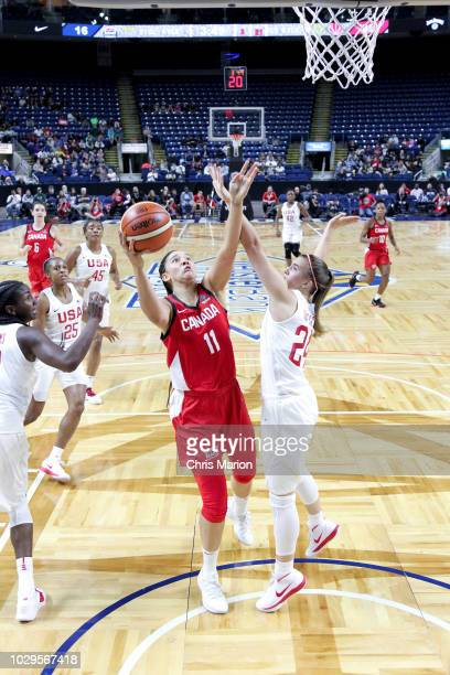 Natalie Achonwa of the Canada National Team goes to the basket against the USA National Team on September 8 2018 at the Webster Bank Arena in...