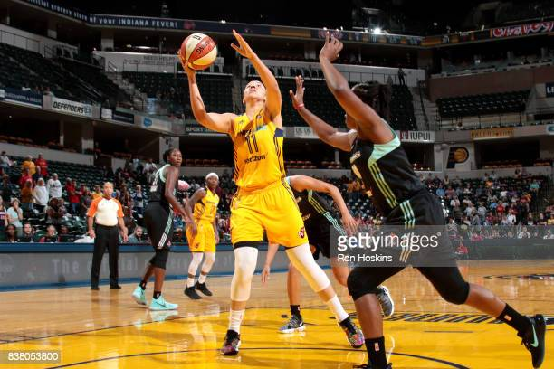 Natalie Achonwa of the Indiana Fever goes for a lay up during the game against the New York Liberty during a WNBA game on August 23 2017 at Bankers...