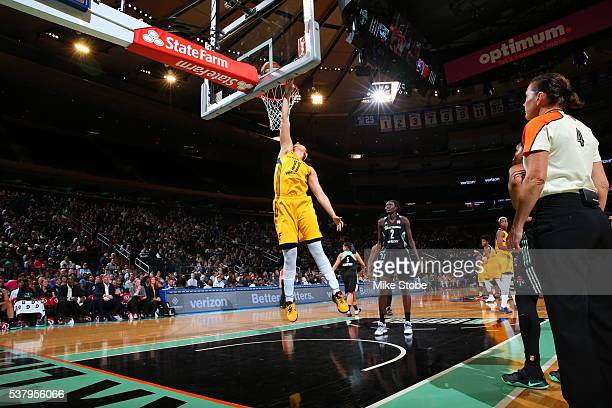Natalie Achonwa of the Indiana Fever goes to the basket against the New York Liberty on June 3 2016 at Madison Square Garden in New York City NOTE TO...