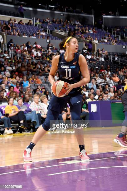 Natalie Achonwa of the Indiana Fever handles the ball against the Los Angeles Sparks on July 20 2018 at STAPLES Center in Los Angeles California NOTE...