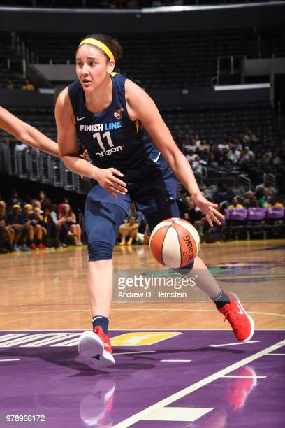 Natalie Achonwa of the Indiana Fever handles the ball against the Los Angeles Sparks on June 19 2018 at STAPLES Center in Los Angeles California NOTE...
