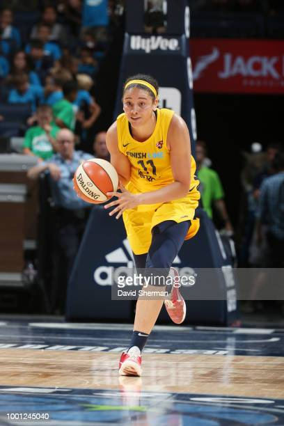 Natalie Achonwa of the Indiana Fever handles the ball against the Minnesota Lynx on July 18 2018 at Target Center in Minneapolis Minnesota NOTE TO...