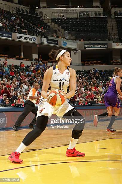 Natalie Achonwa of the Indiana Fever handles the ball against the Phoenix Mercury on June 12 2015 at Bankers Life Fieldhouse in Indianapolis Indiana...