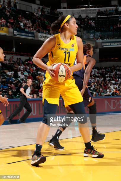 Natalie Achonwa of the Indiana Fever handles the ball against the Phoenix Mercury on June 29 2018 at Bankers Life Fieldhouse in Indianapolis Indiana...