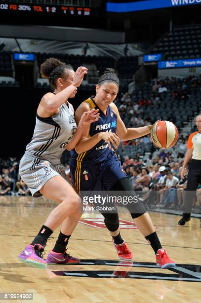 Natalie Achonwa of the Indiana Fever handles the ball against the San Antonio Stars on July 20 2017 at the ATT Center in San Antonio Texas NOTE TO...