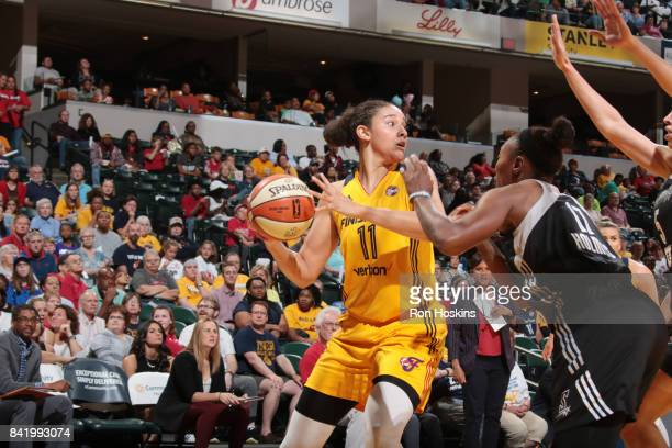 Natalie Achonwa of the Indiana Fever handles the ball against the San Antonio Stars on September 2 2017 at Bankers Life Fieldhouse in Indianapolis...