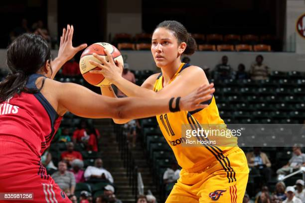 Natalie Achonwa of the Indiana Fever handles the ball during the game against the Washington Mystics during a WNBA game on August 20 2017 at Bankers...