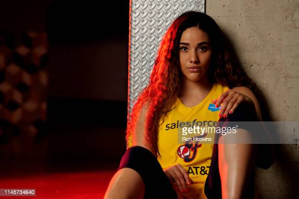 Natalie Achonwa of the Indiana Fever poses for a portrait during the WNBA Media Day at Bankers Life Fieldhouse on May 20 2019 in Indianapolis Indiana...