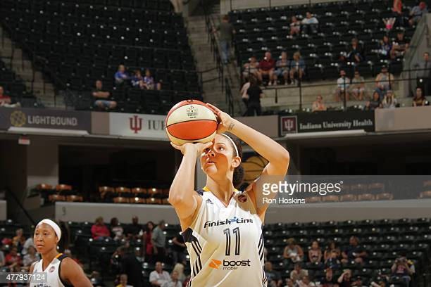 Natalie Achonwa of the Indiana Fever shoots a free throw against the Washington Mystics in a WNBA game on June 20 2015 at Bankers Life Fieldhouse in...