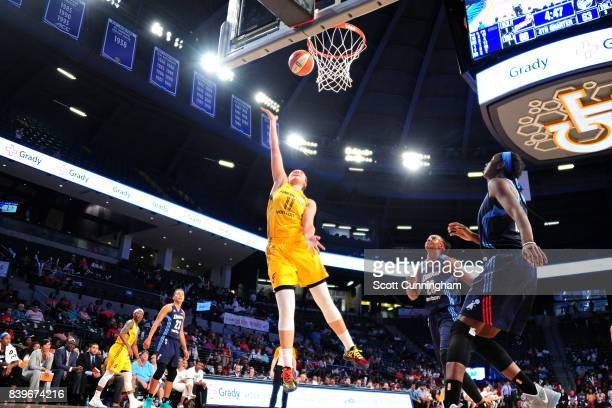 Natalie Achonwa of the Indiana Fever shoots a lay up during the game against the Atlanta Dream during a WNBA game on August 26 2017 at Philips Arena...