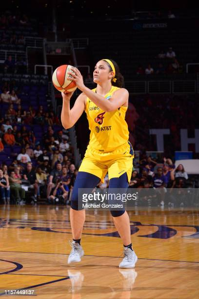 Natalie Achonwa of the Indiana Fever shoots mid range jumper against the Phoenix Mercury on July 23 2019 at the Talking Stick Resort Arena in Phoenix...