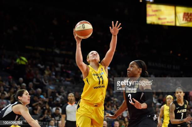 Natalie Achonwa of the Indiana Fever shoots the ball against the Las Vegas Aces on July 22 2018 at the Mandalay Bay Events Center in Las Vegas Nevada...