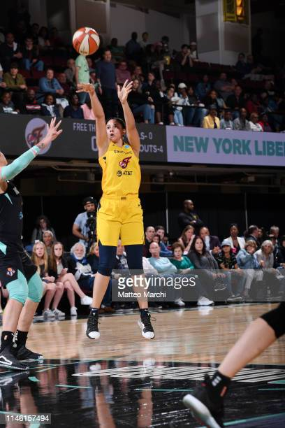 Natalie Achonwa of the Indiana Fever shoots the ball against the New York Liberty on May 24 2019 at the Westchester County Center in White Plains New...