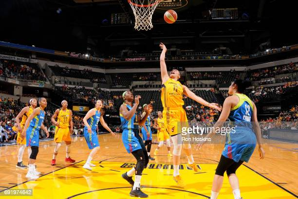 Natalie Achonwa of the Indiana Fever shoots the ball during the game against the Dallas Wings during a WNBA game on June 3 2015 at Bankers Life...