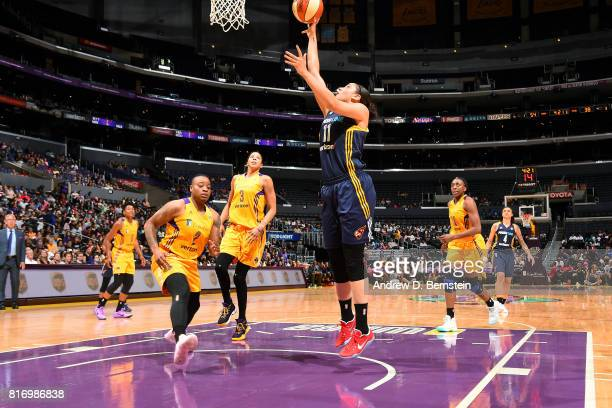 Natalie Achonwa of the Indiana Fever shoots the ball during the game against the Los Angeles Sparks during a WNBA game on July 17 2017 at STAPLES...