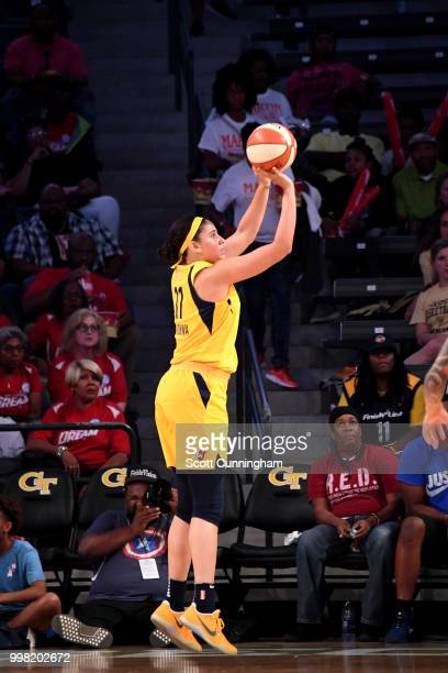 Natalie Achonwa of the Indiana Fever shoots the ball during the game against the Atlanta Dream on July 13 2018 at McCamish Pavilion in Atlanta...