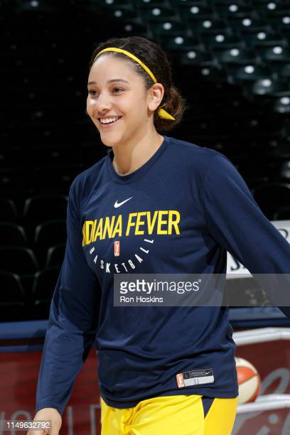 Natalie Achonwa of the Indiana Fever smiles prior to a game against the Seattle Storm on June 11 2019 at the Bankers Life Fieldhouse in Indianapolis...