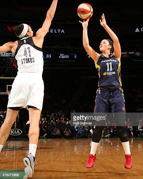Natalie Achonwa of the Indiana Fever takes a shot against the New York Liberty during a WNBA game on June 9 2015 at Madison Square Garden in New York...