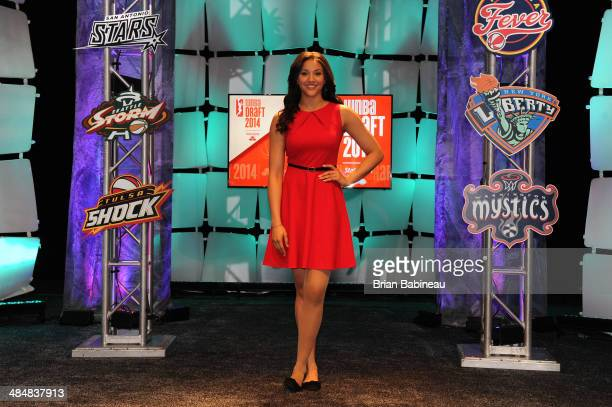 Natalie Achonwa poses for a portrait during the 2014 WNBA Draft Presented By State Farm on April 14 2014 at Mohegan Sun Arena in Uncasville...