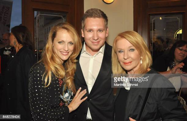 Natalie Alison Clemens Trischler and Gerda Rogers pose during the musical 'I Am From Austria' worldpremiere in Vienna at Raimund Theater on September...