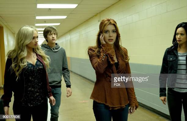 Natalie Alyn Lind Percy Hynes White guest star Elena Satine and Jamie Chung in the 'outfoX' episode of THE GIFTED airing Monday Dec 4 on FOX