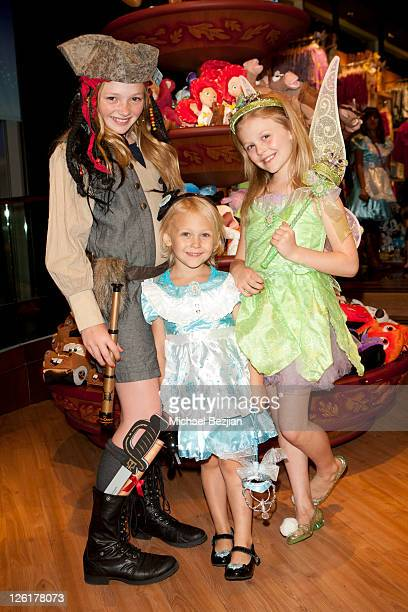 Natalie AlynLind Aly AlynLind and Emily AlynLind attend the Disney Store Halloween BOOtique Event At Santa Monica Place at Santa Monica Place on...