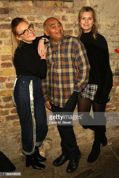 Natalie Ann Jamieson Bhasker Patel and Olivia Bromley attend the press night performance of Christmas Carol A Fairy Tale at Wilton's Music Hall on...