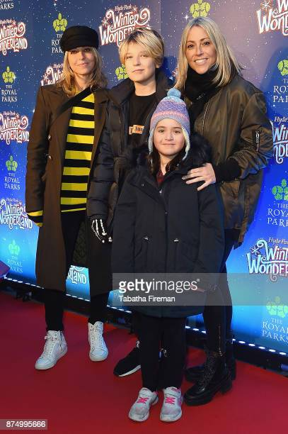 Natalie Appleton Ace Howlett a guest and Nicole Appleton attend the Winter Wonderland VIP launch night at Hyde Park on November 16 2017 in London...