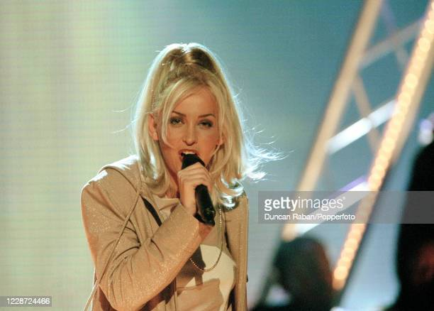 Natalie Appleton of the British girl group All Saints performing during the Brit Awards at the London Arena in London England on February 9 1998