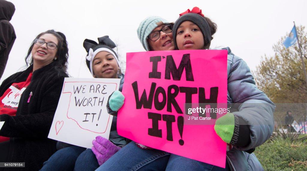 Oklahoma Teachers Go On Strike And Rally At State Capitol : News Photo
