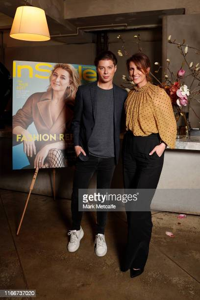 Natalie Barr and Michael Pell attend the Marie Claire InStyle luncheon in honour of the Ovarian Cancer Research Foundation on August 08 2019 in...