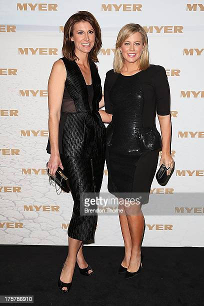 Natalie Barr and Samantha Armytage arrives at the Myer Spring/Summer 2014 Collections Launch at Fox Studios on August 8 2013 in Sydney Australia