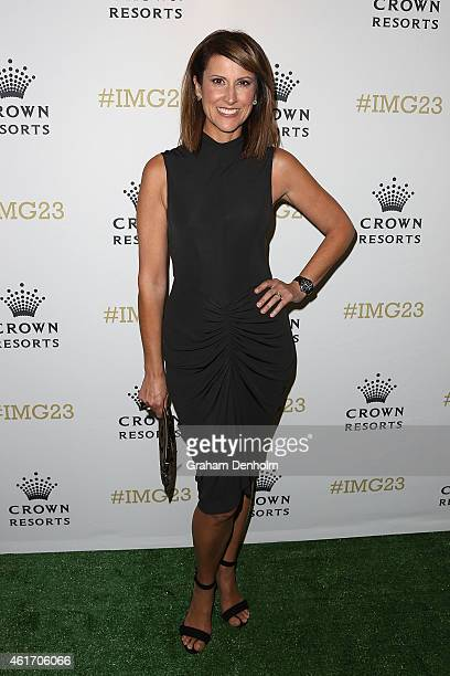 Natalie Barr arrives for Crown's IMG@23 Tennis Players' Party at Crown Entertainment Complex on January 18 2015 in Melbourne Australia