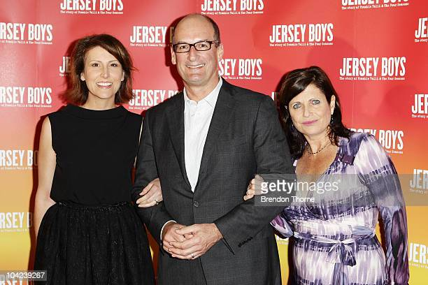Natalie Barr David Koch and Libby Koch arrive at the opening night for Jersey Boys The Story of Frankie Valli the Four Seasons at the Theatre Royal...