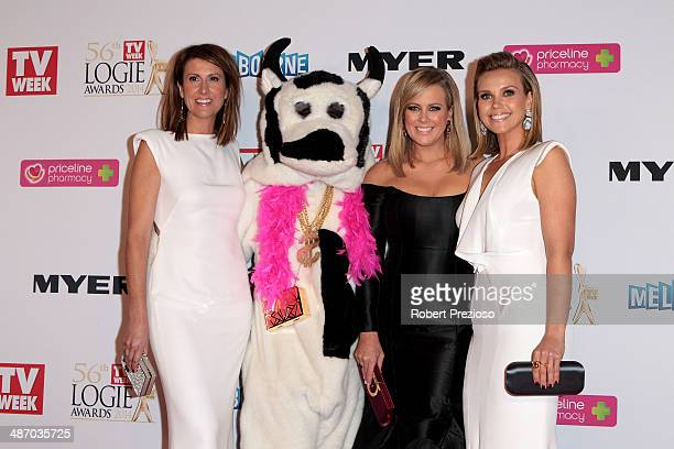 Natalie Barr Samantha Armytage and Edwina Bartholomew arrive at the 2014 Logie Awards at Crown Palladium on April 27 2014 in Melbourne Australia