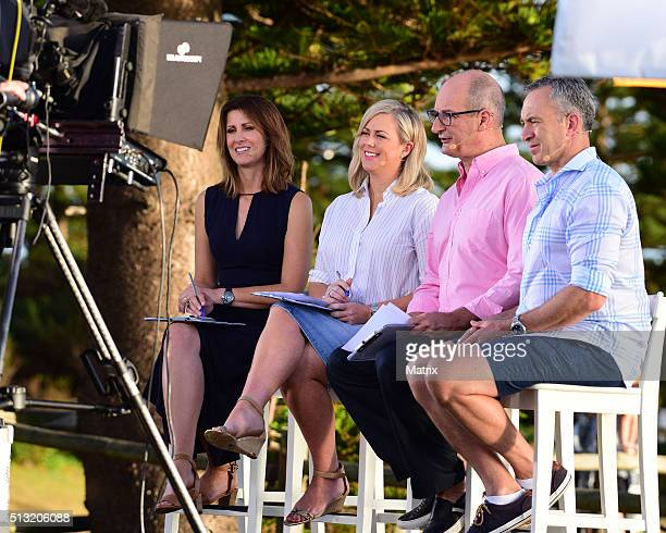 Natalie Barr Samantha Armytage David Koch and Mark Beretta are seen on set during a Sunrise filming at Palm Beach on March 2 2016 in Sydney Australia