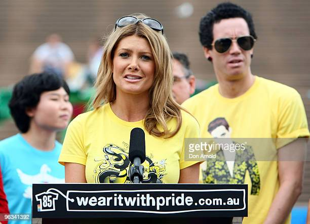 Natalie Bassingthwaighte addresses the media during the Wear It With Pride campaign aiming to educate Australians about 85 law reforms that would...